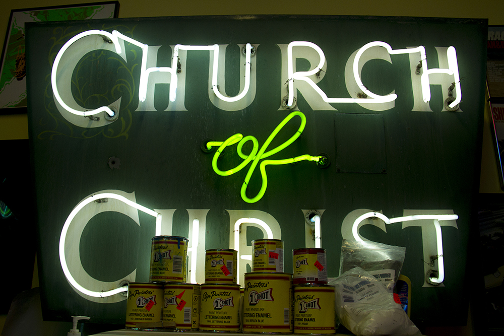 Neon inside Acme Neon, Seth Totten's shop. (Kevin J. Beaty/Denverite)  neon; denver; colorado; kevinjbeaty; denverite