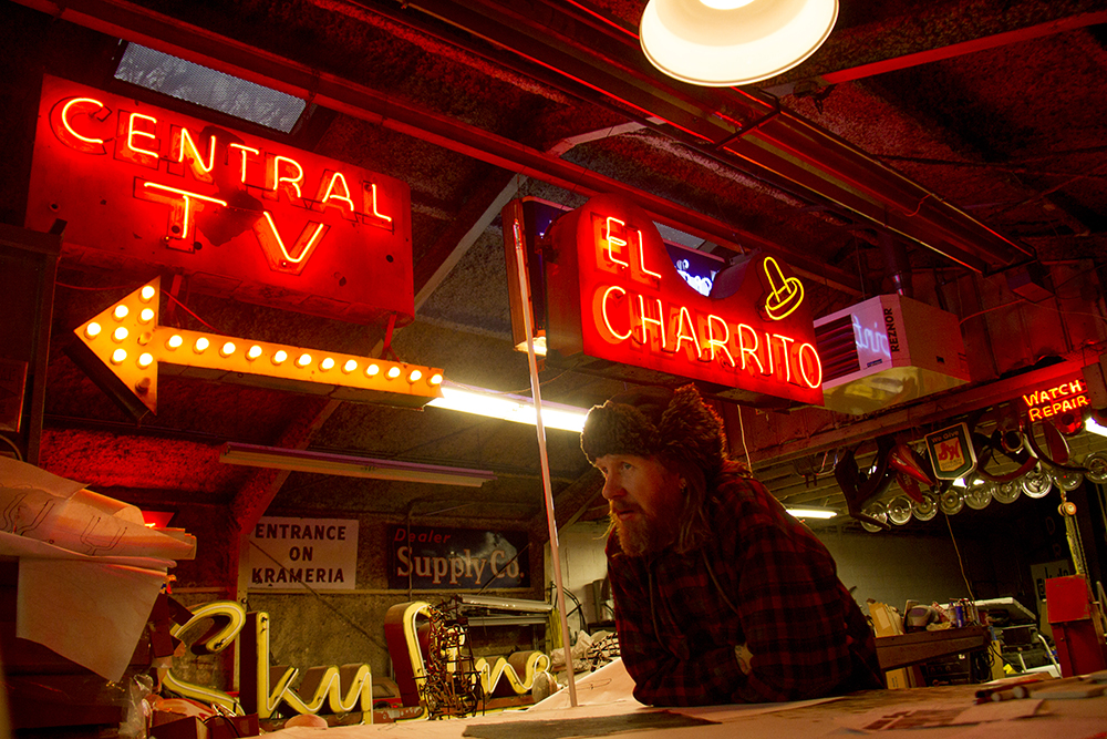 Seth Totten inside his shop, Acme Neon. (Kevin J. Beaty/Denverite)  neon; denver; colorado; kevinjbeaty; denverite