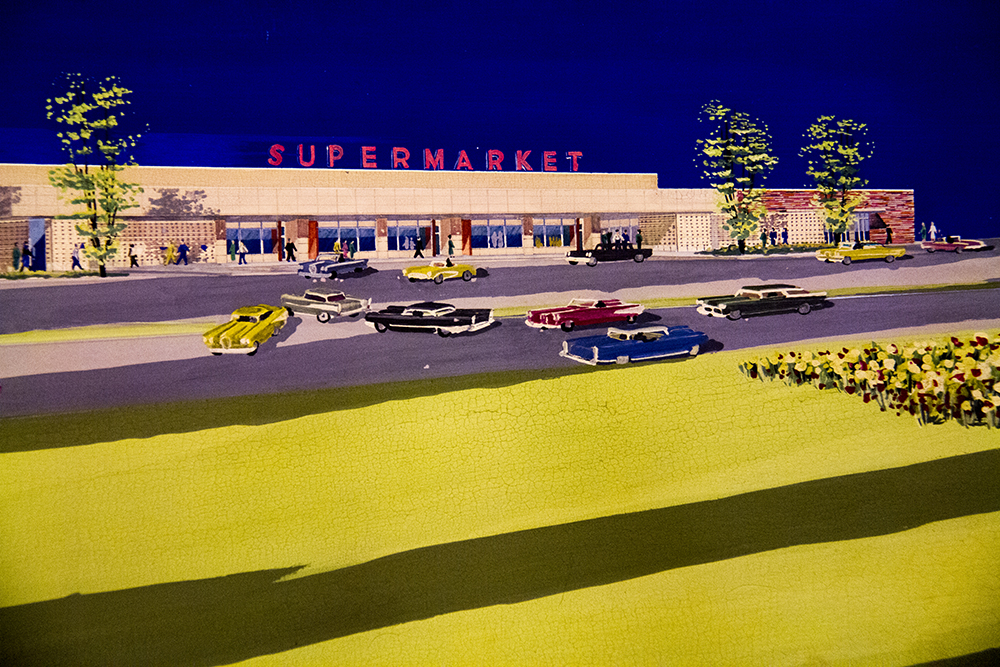 A rendering of a supermarket that never was constructed around the original Cherry Creek Mall. (Denver Public Library/Western History Collection/Temple Hoyne Buell Architectural Records/OVFolio 8)  architecture; temple buell; denver; colorado; denverite; denver public library;