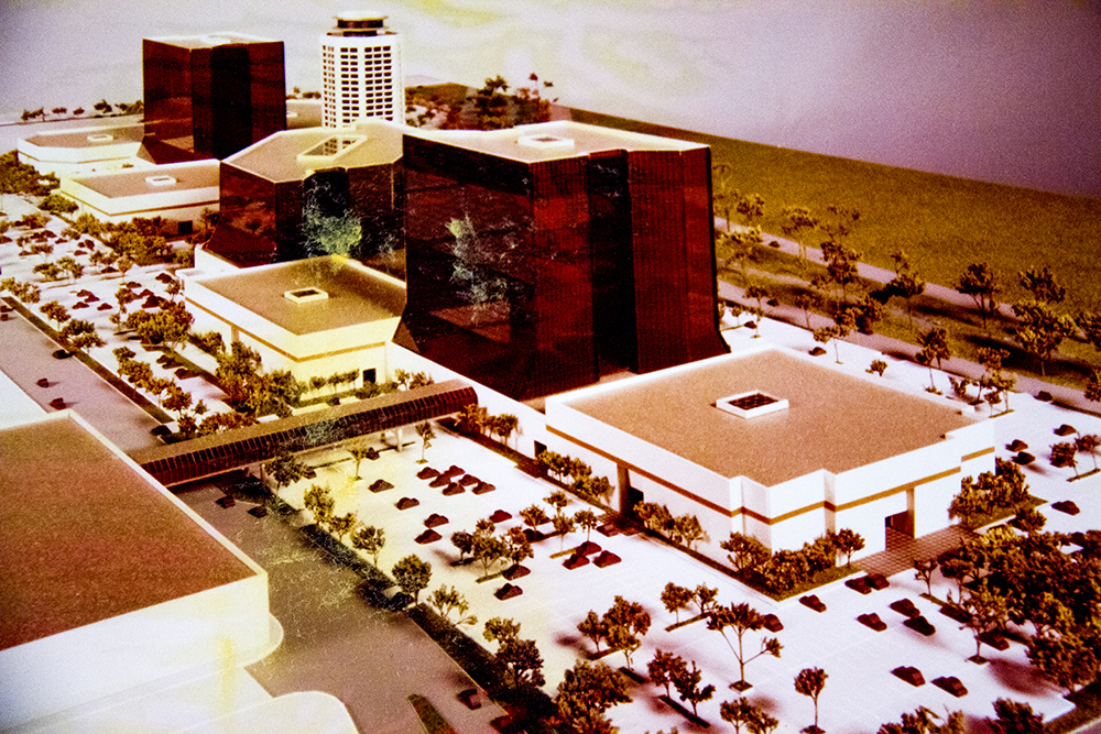 A photo of a model of what could have become the current-day Cherry Creek Mall. (Denver Public Library/Western History Collection/Capitol Hill United Neighbors Records/Box 27)  archive; library; historic; denver; denverite; colorado