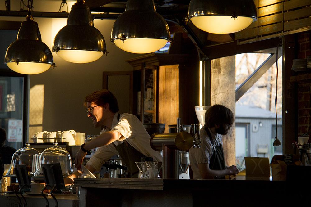 Steam Coffee baristas Thomas Dimperio (right) and Alex Rowe make magic behind the bar. (Kevin J. Beaty/Denverite)  platt park; coffee shop; food; cozy; kevinjbeaty; denver; denverite; colorado;