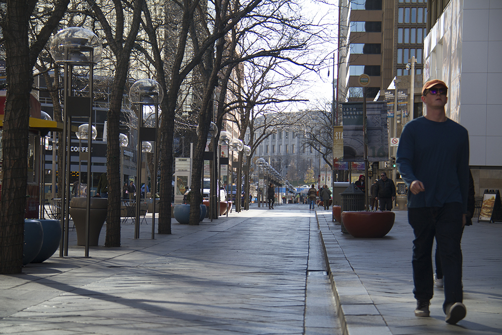 The 16th Street Mall is business as usual on Black Friday. (Kevin J. Beaty/Denverite)  16th street mall; sixteenth street; shopping; retail; pavillions; black friday; kevinjbeaty; denverite; denver; colorado