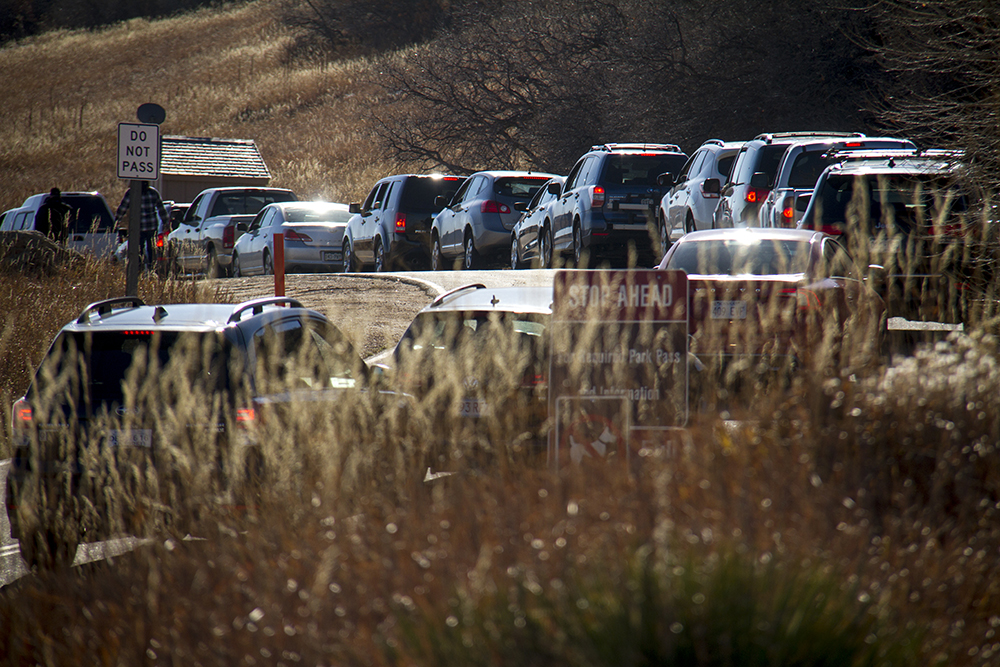 Roxborough State Park is filled to the brim with visitors on Black Friday when such places are open free to the public. (Kevin J. Beaty/Denverite)  Roxborough State Park; outdoors; black friday; kevinjbeaty; denverite; denver; colorado