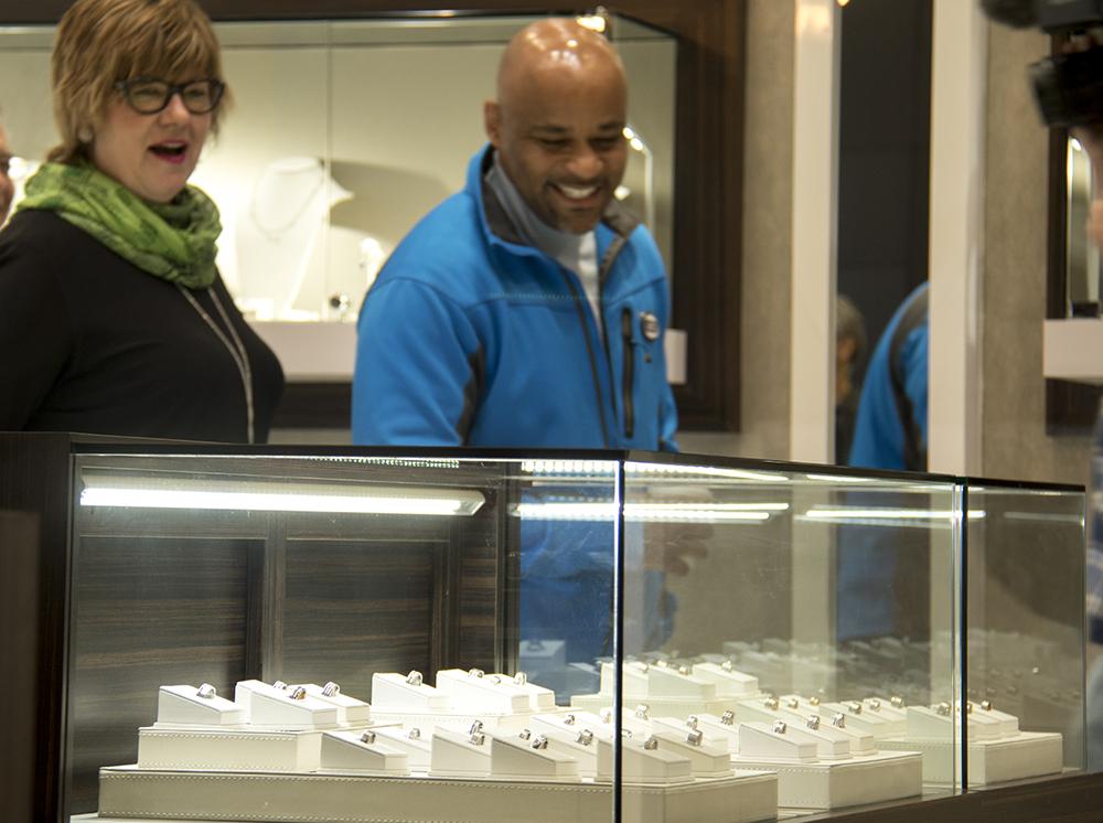 Mayor Michael Hancock visits Gnat Jewelers on Slall Business Saturday. Nov. 26, 2016. (Kevin J. Beaty/Denverite)  small business saturday; denver; denverite; retail; kevinjbeaty; colorado;