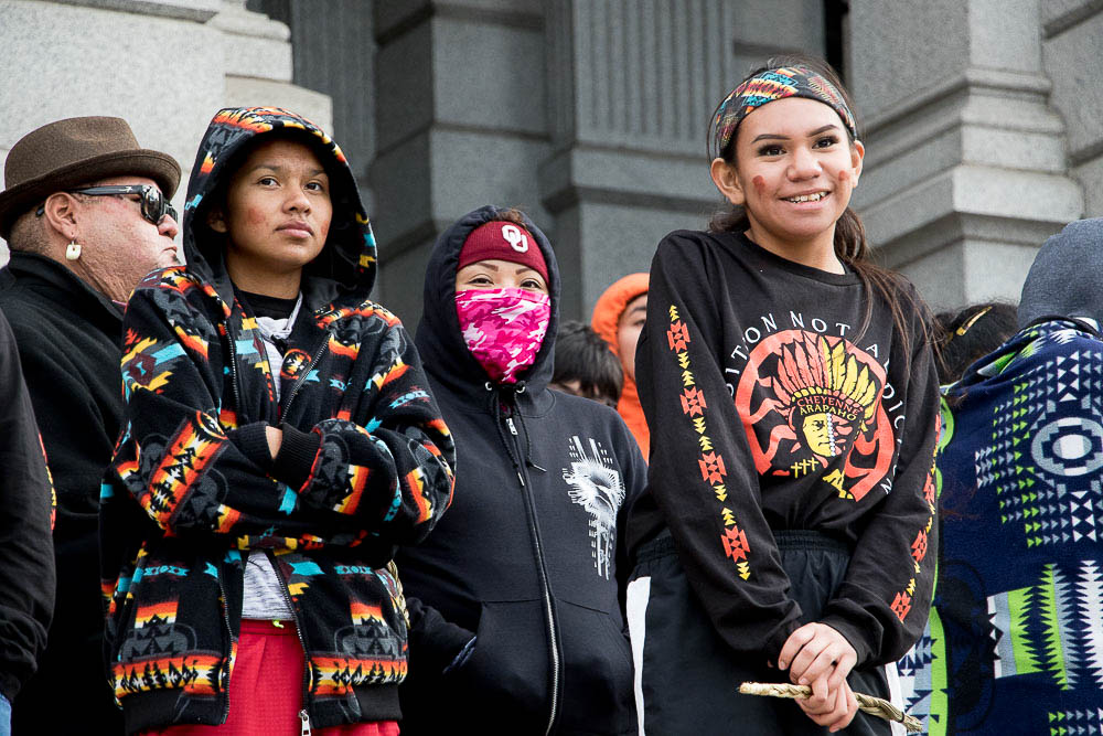 Hundreds met at the state capitol for the conclusio of the 18th annual Sand Creek Memorial Run. (Chloe Aiello/Denverite)