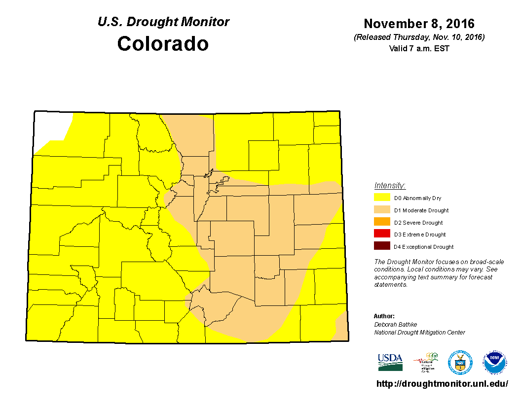 Colorado's drought status as of Nov. 10, 2016.