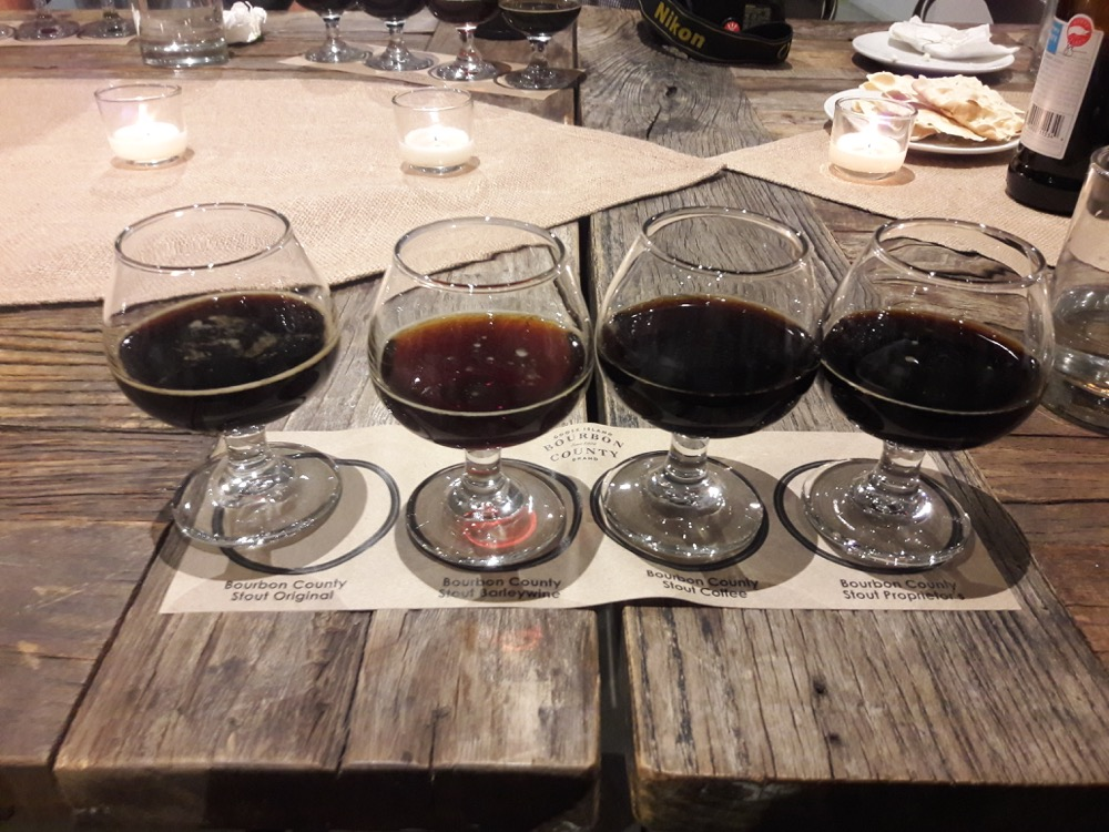 Four different Bourbon County varieties from Goose Island Beer Co. (Adrian D. Garcia/Denverite)