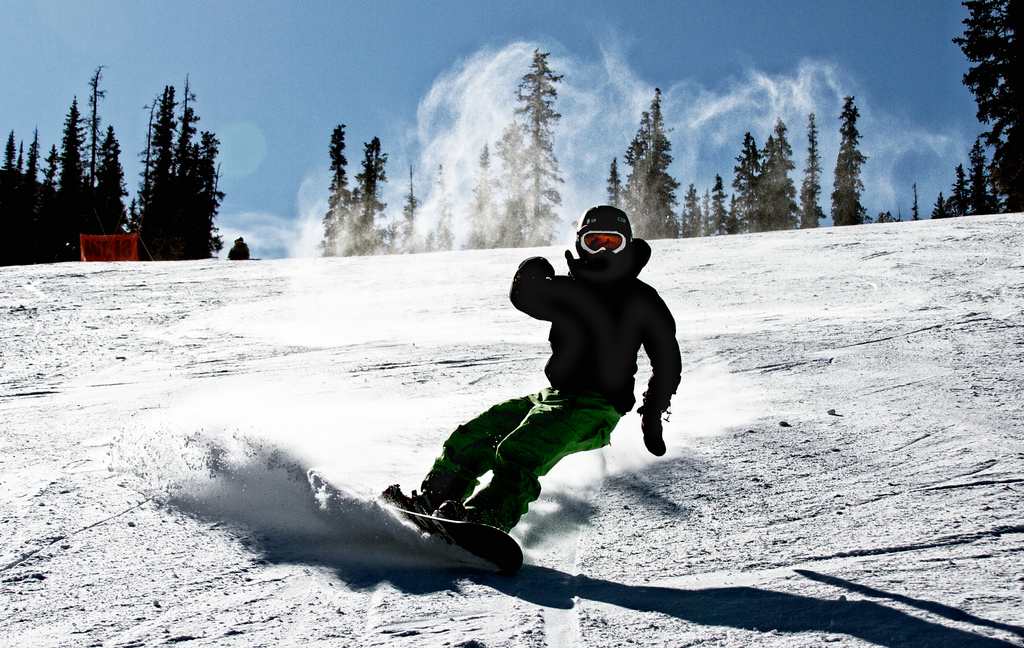 A snowboarder at Arapahoe Basin on Nov 4, 2009. (Zach Dischner/Flickr)