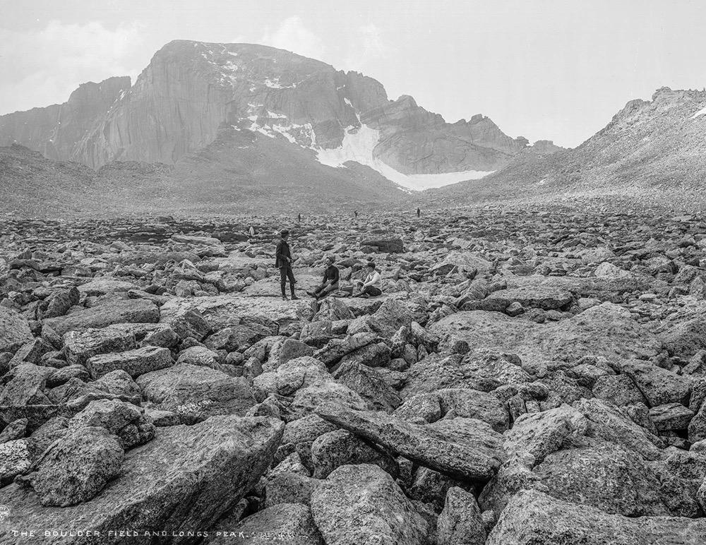 The boulder field below Longs Peak in 1901. (William H. Jackson/History Colorado via John Fielder)