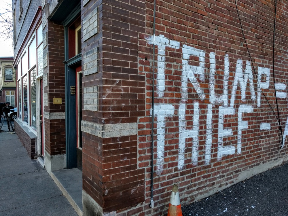 Vandalism at Donald Trump's Denver office. (Kevin J. Beaty/Denverite)