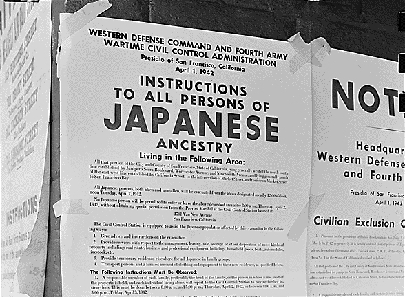 An order to people of Japanese ancestry posted during the internment. (National Archives and Records Administration)
