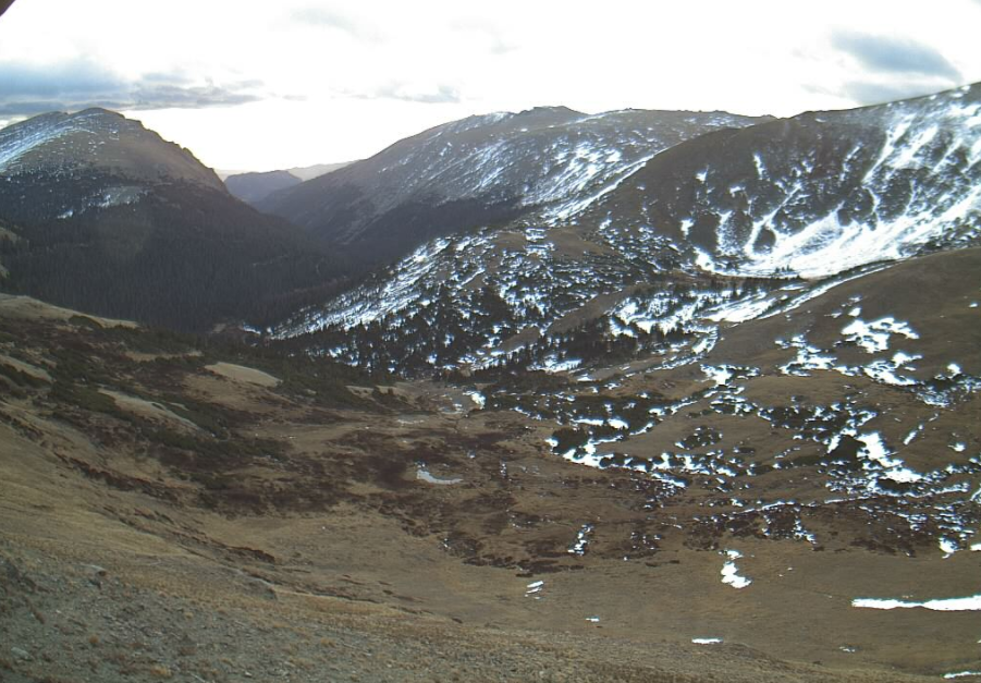 A National Parks Service webcam shows marginal amounts of snow on Nov. 1, 2016 from the Alpine Visitors Center in Rocky Mountain National Park. (NPS)
