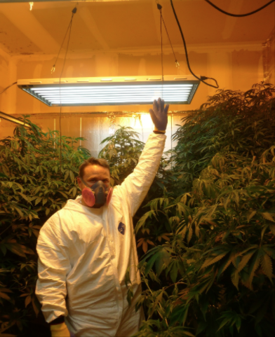 An Aurora police officer responds to an illegal marijuana home grow. (Courtesy of the Aurora Police Department)