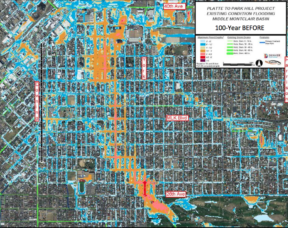 How a 100-year flood currently looks in East and North Denver. (Denver Public Works)