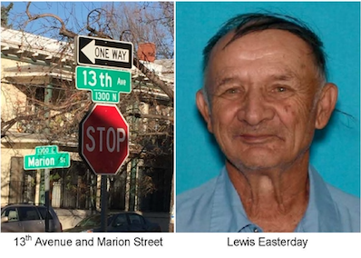 Crime Stoppers images of Lewis Easterday and the site of his killing.