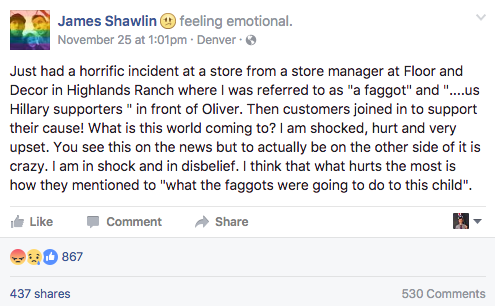 James Shawlin's account of verbal abuse at a Floor and Decor store in Highlands Ranch. (James Shawlin/Facebook)