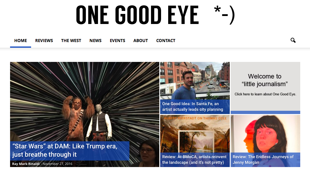 Screenshot of One Good Eye website. 11/29/16