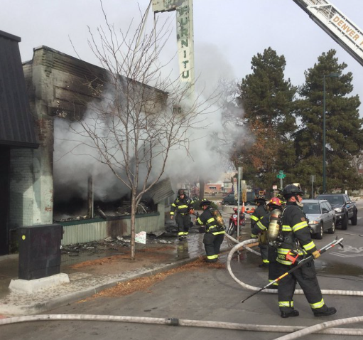 Fire at Green Door Furniture from Denver Fire twitter