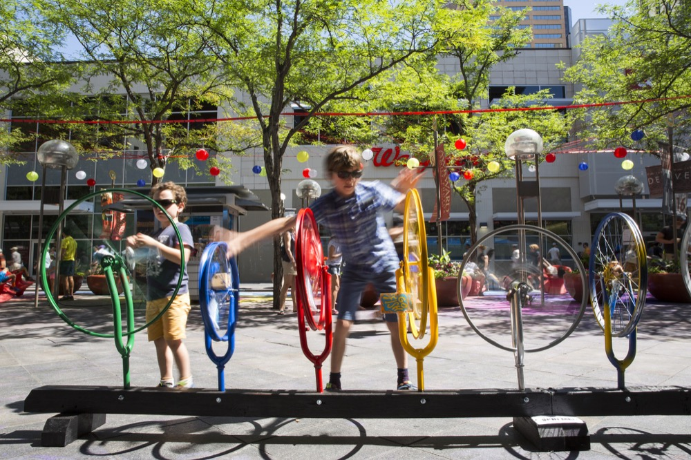 """Wheels Go Round,"" a temporary installation, won an award in the 2016 Mayor's Design Award. (Denver CPD)"