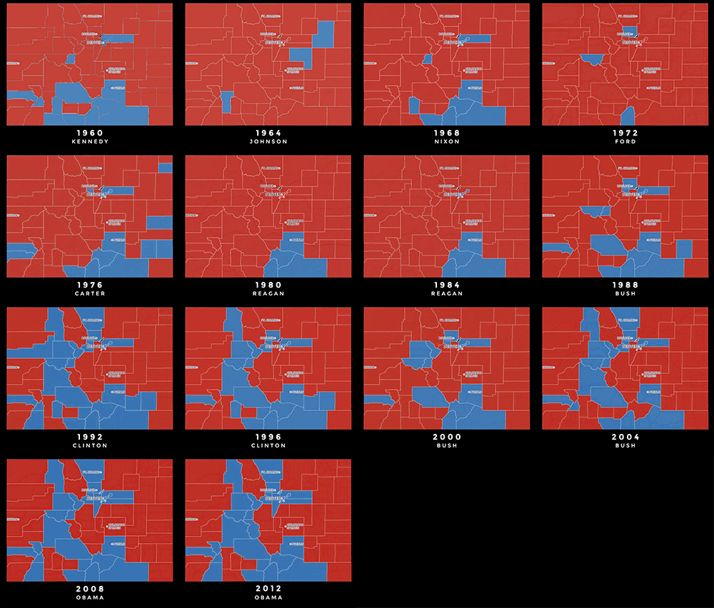 Maps of who went blue or red in presidential elections since 1960.