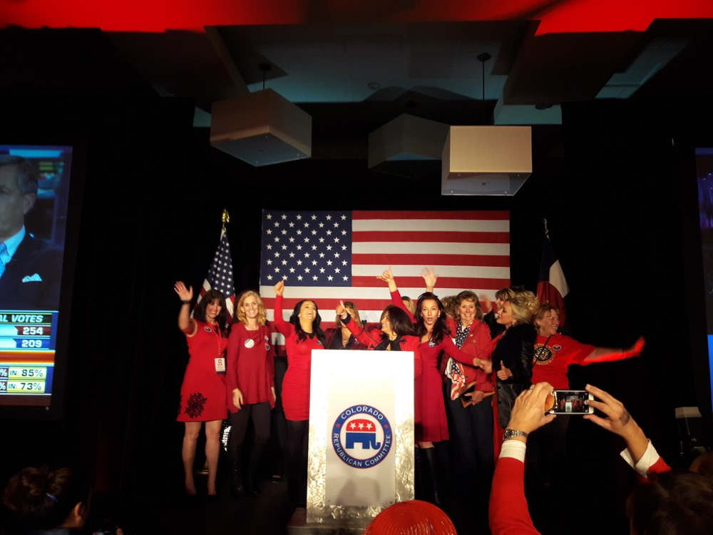 Republican women celebrate Donald Trump's victory at the Colorado Republican Party's watch party on Tuesday. (Adrian Garcia/Denverite)