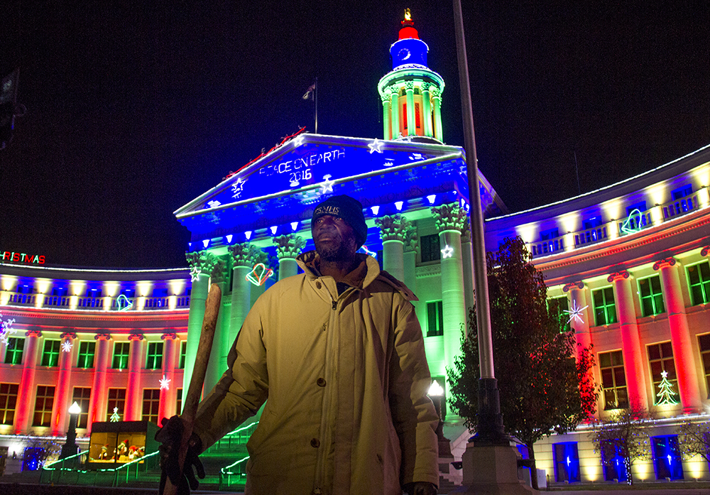Jerry Burton poses for a portrait. Protesters who have set up camp in front of the City and County Building to denounce Denver's urban camping ban are removed by police. Nov. 29, 2016. (Kevin J. Beaty/Denverite)  camping ban; right to rest; homeless sweeps; city and county building; police; protest; kevinjbeaty; denver; denverite; colorado;