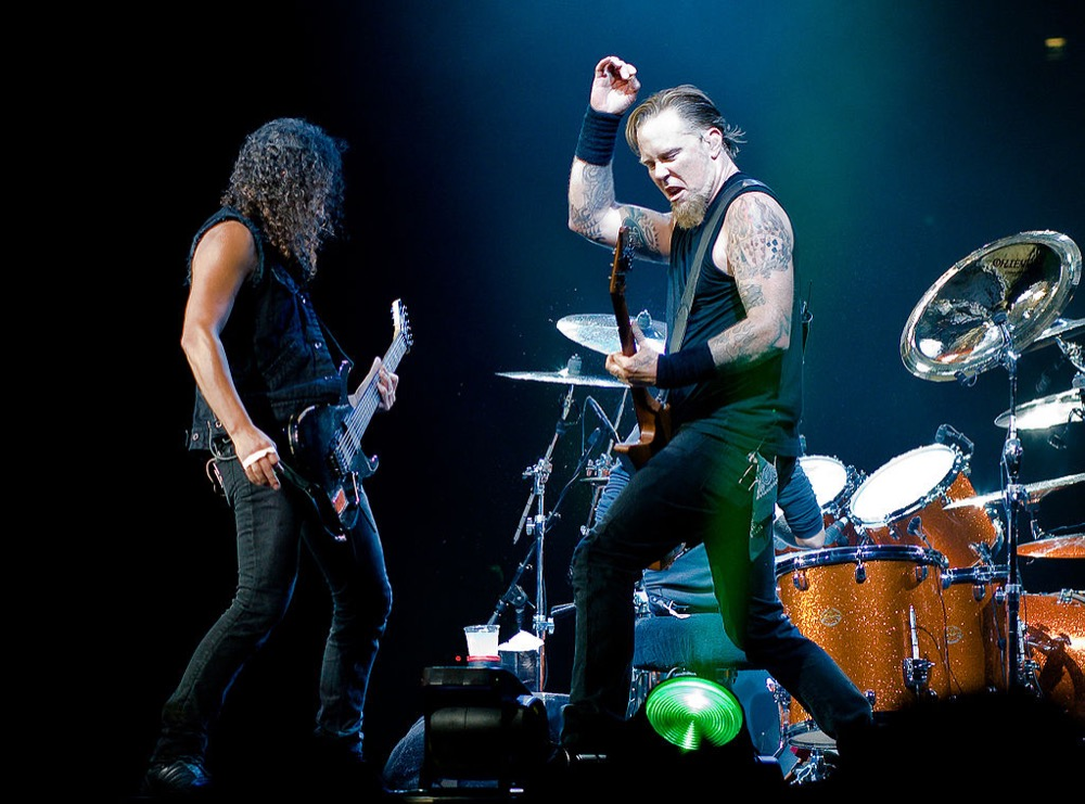 James Hetfield performs with Metallica in London. (Kreepin Death/Wikimedia Commons)