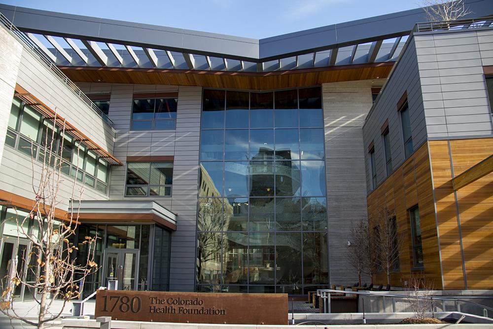 The new Colorado Health Foundation building at 18th and Pennsylvania. (Kevin J. Beaty/Denverite)  vacant lots; development; construction; denver; colorado; kevinjbeaty;