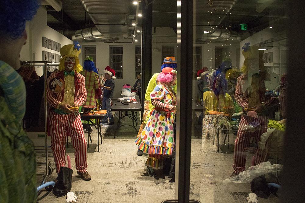 The clown dressing room before the parade of lights. Dec. 2, 2016. (Kevin J. Beaty/Denverite)parade of lights; holiday; christmas; civic center; kevinjbeaty; denver; denverite; colorado;
