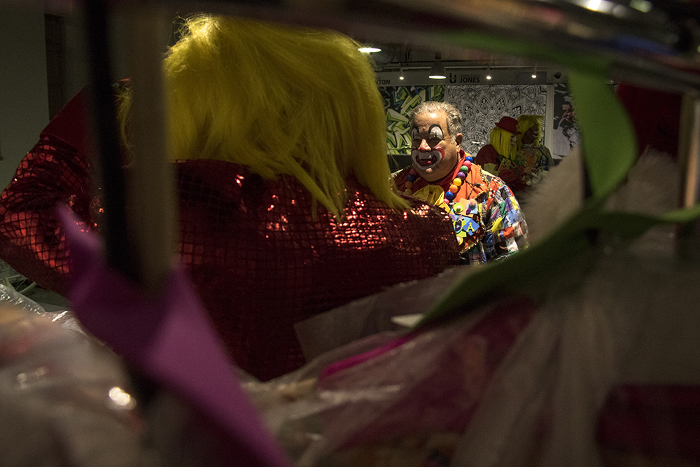 Clown Ron Seigneur in the clown dressing room before the parade of lights. Dec. 2, 2016. (Kevin J. Beaty/Denverite)parade of lights; holiday; christmas; civic center; kevinjbeaty; denver; denverite; colorado;