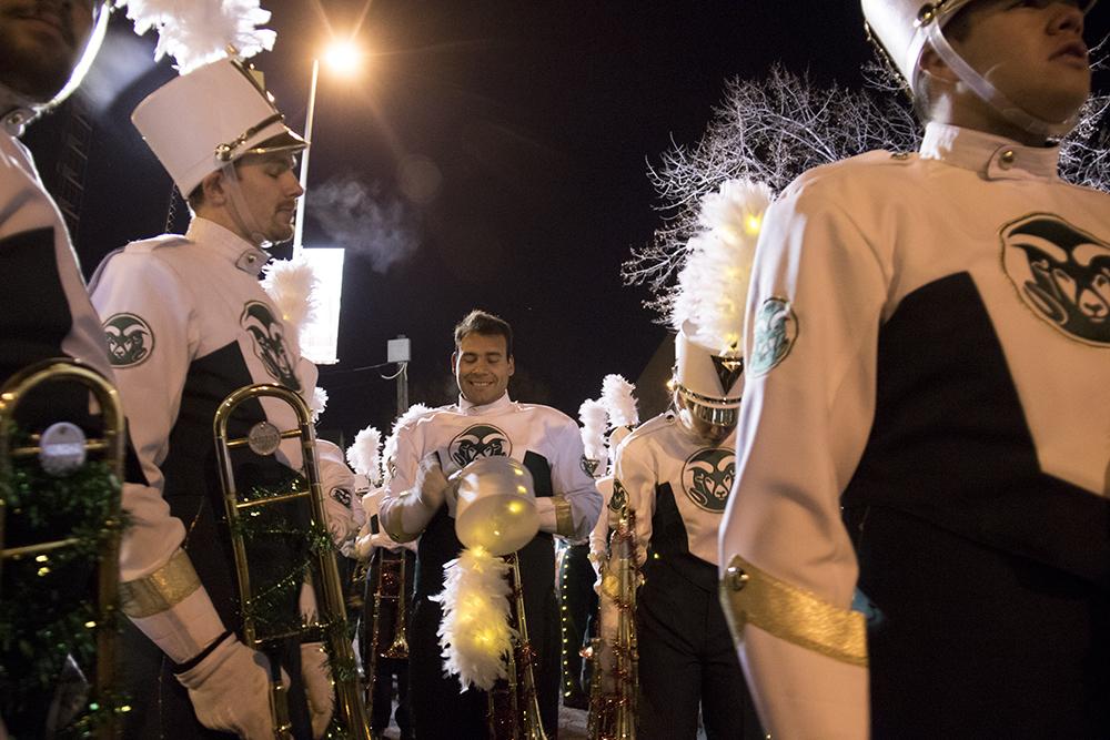 The CSU marching band. Parade of lights. Dec. 2, 2016. (Kevin J. Beaty/Denverite)parade of lights; holiday; christmas; civic center; kevinjbeaty; denver; denverite; colorado;