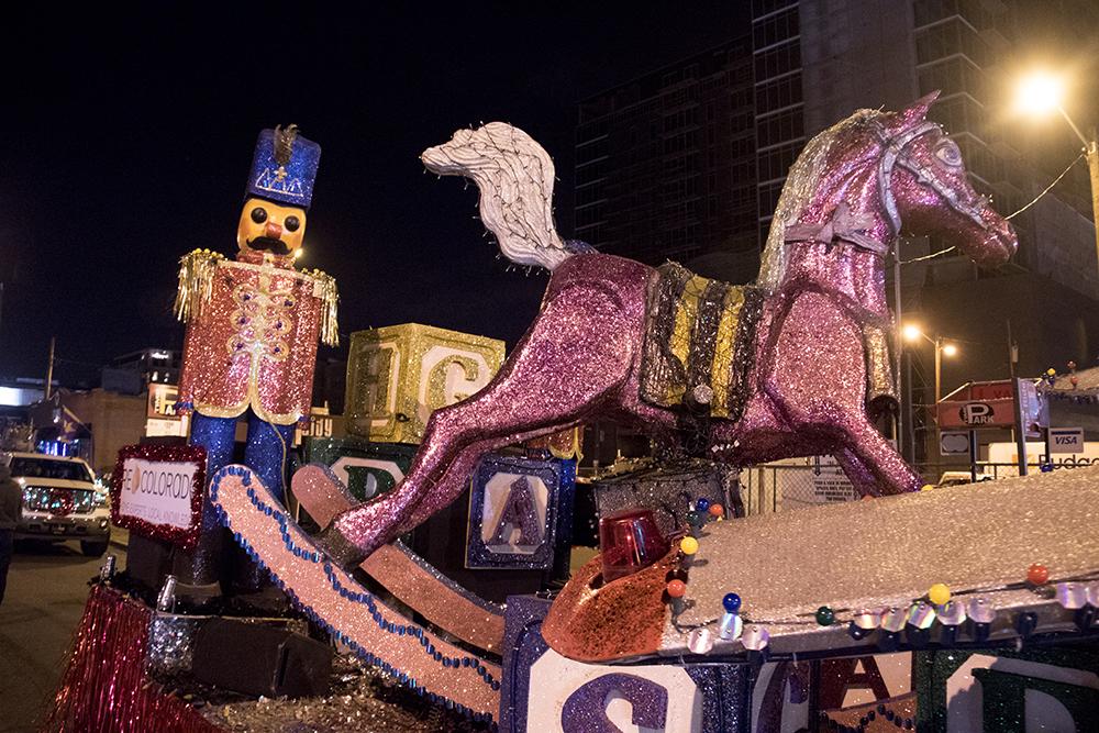 A giant nutcracker and rocking horse. Parade of lights. Dec. 2, 2016. (Kevin J. Beaty/Denverite)parade of lights; holiday; christmas; civic center; kevinjbeaty; denver; denverite; colorado;