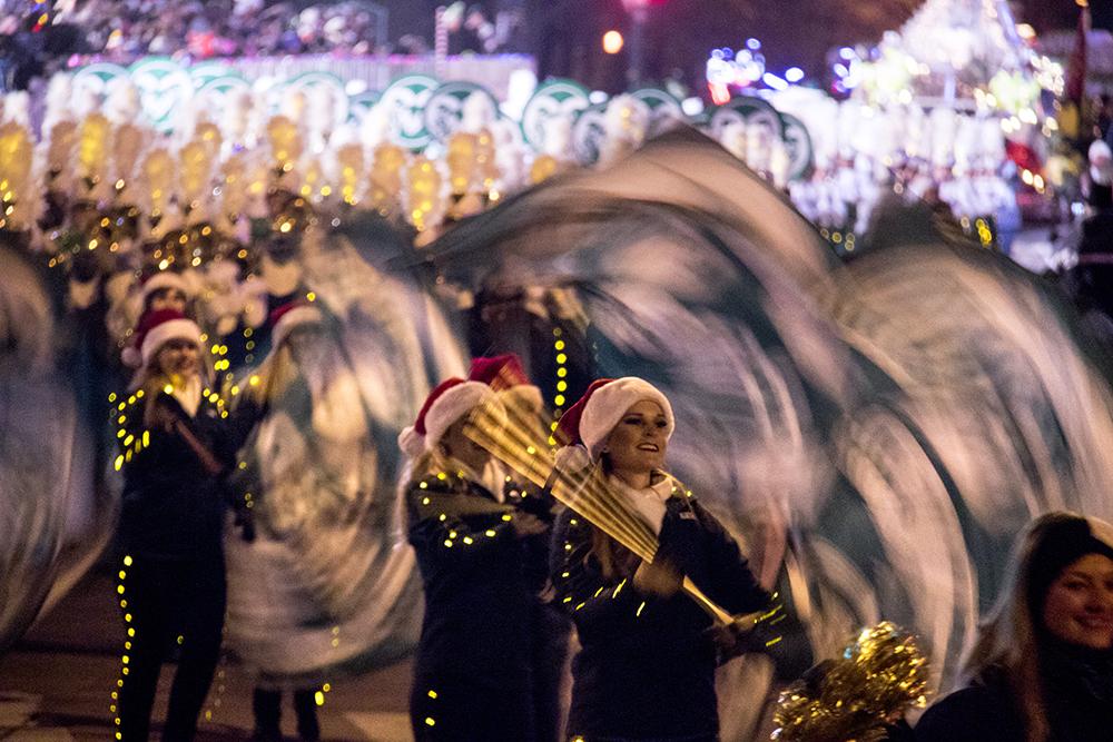The CSU marching band. Parade of lights. Dec. 2, 2016. (Kevin J. Beaty/Denverite)  parade of lights; holiday; christmas; civic center; kevinjbeaty; denver; denverite; colorado;