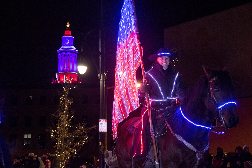 An illuminated horse. Parade of lights. Dec. 2, 2016. (Kevin J. Beaty/Denverite)  parade of lights; holiday; christmas; civic center; kevinjbeaty; denver; denverite; colorado;