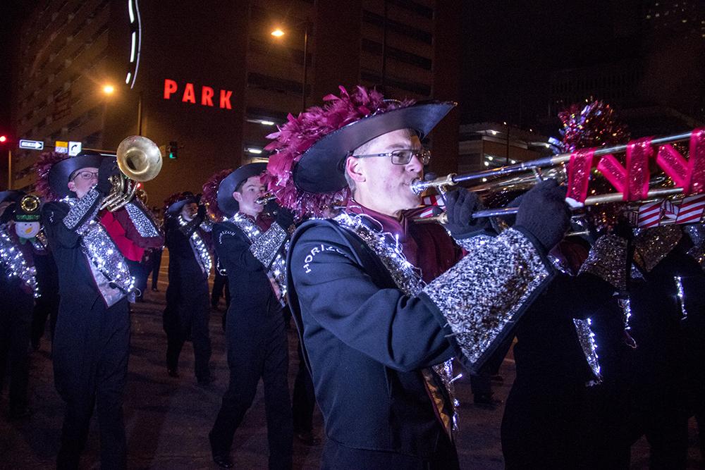The Denver Citywide Marching Band. Parade of lights. Dec. 2, 2016. (Kevin J. Beaty/Denverite)parade of lights; holiday; christmas; civic center; kevinjbeaty; denver; denverite; colorado;