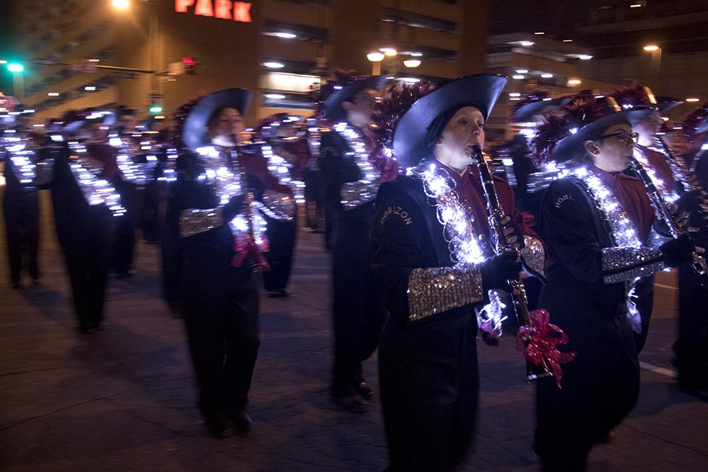 The Denver Citywide Marching Band. Parade of lights. Dec. 2, 2016. (Kevin J. Beaty/Denverite)  parade of lights; holiday; christmas; civic center; kevinjbeaty; denver; denverite; colorado;