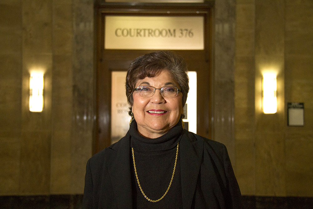 Electoral College voter Polly Baca poses for a portrait outside of the courtroom. Dec. 13, 2016. (Kevin J. Beaty/Denverite)  faithless electors; electoral college; election; politics; copolitics; law; city and county building; kevinjbeaty; denver; denverite; colorado;