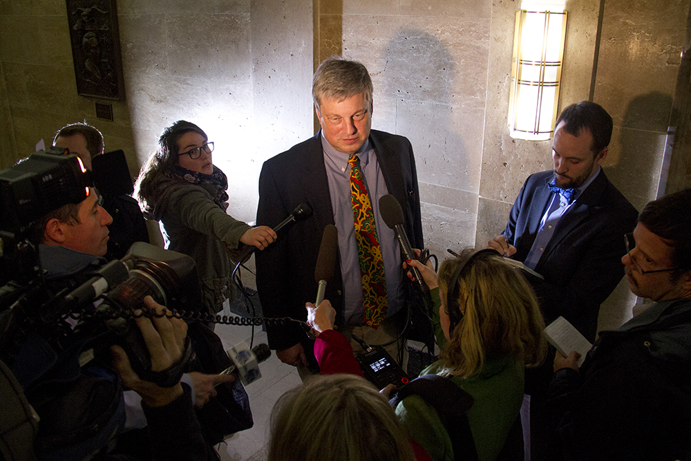 Colorado Secretary of State Wayne Williams speaks to the press. Dec. 13, 2016. (Kevin J. Beaty/Denverite)  faithless electors; electoral college; election; politics; copolitics; law; city and county building; kevinjbeaty; denver; denverite; colorado;