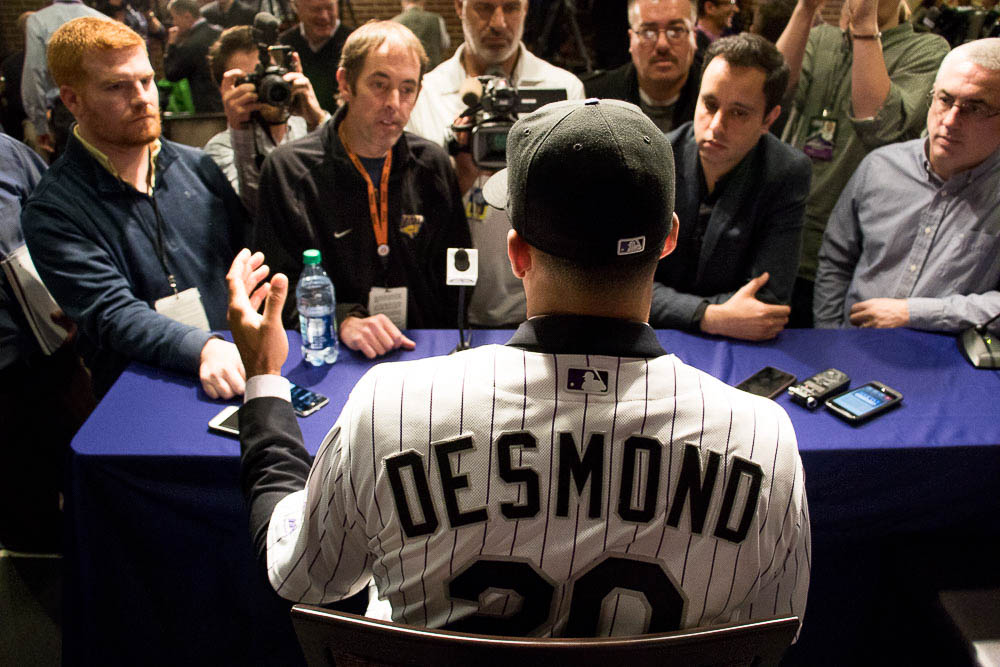 The Rockies signed Ian Desmond to play first base. (Chloe Aiello/Denverite)