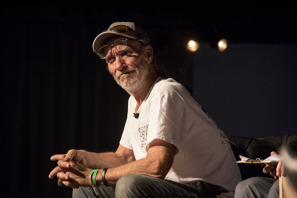 """""""Move along to where?"""" A community meeting at EXDO, Dec. 15, 2016. (Kevin J. Beaty/Denverite)  right to rest; camping ban; homeless; exdo; forum; community meeting; kevinjbeaty; denver; denverite; colorado;"""