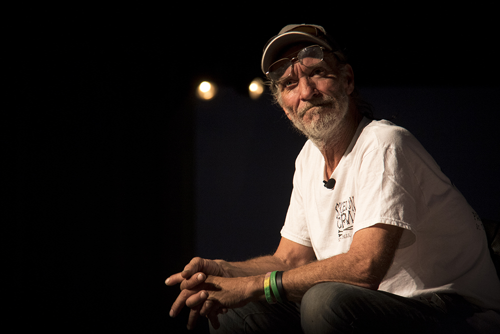 """Ray Lyall. """"Move along to where?"""" A community meeting at EXDO, Dec. 15, 2016. (Kevin J. Beaty/Denverite)  right to rest; camping ban; homeless; exdo; forum; community meeting; kevinjbeaty; denver; denverite; colorado;"""