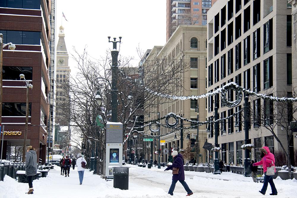 Winter over the 16th Street Mall. (Kevin J. Beaty/Denverite)