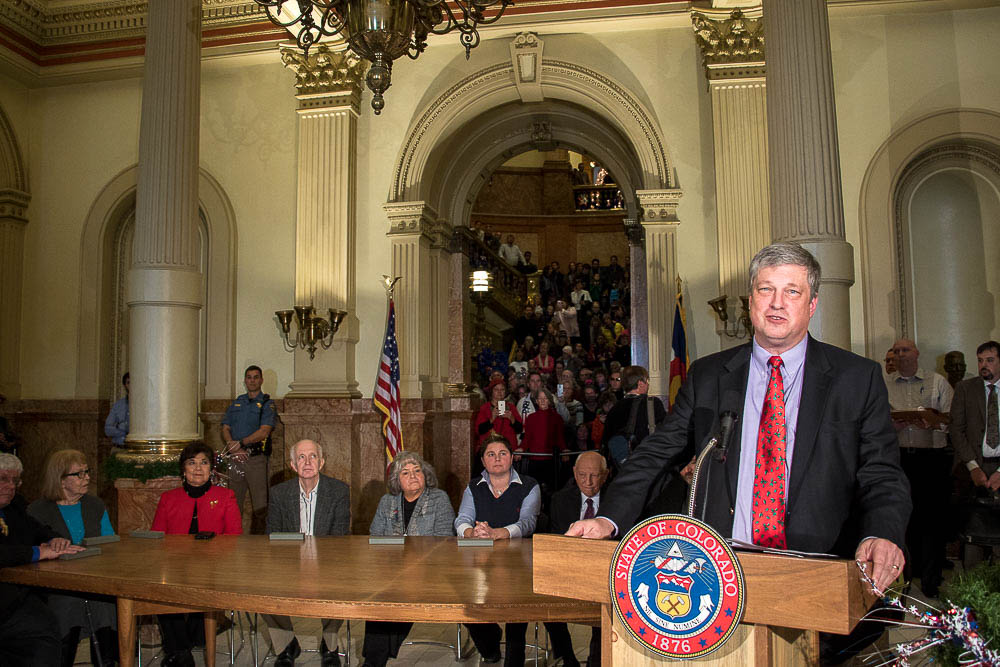 Secretary of State Wayne Williams opens elector voting at the Colorado Capitol. (Chloe Aiello/Denverite)
