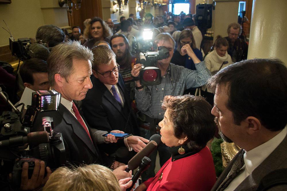CO elector Polly Baca speaks to the media at the Colorado Capitol. (Chloe Aiello/Denverite)