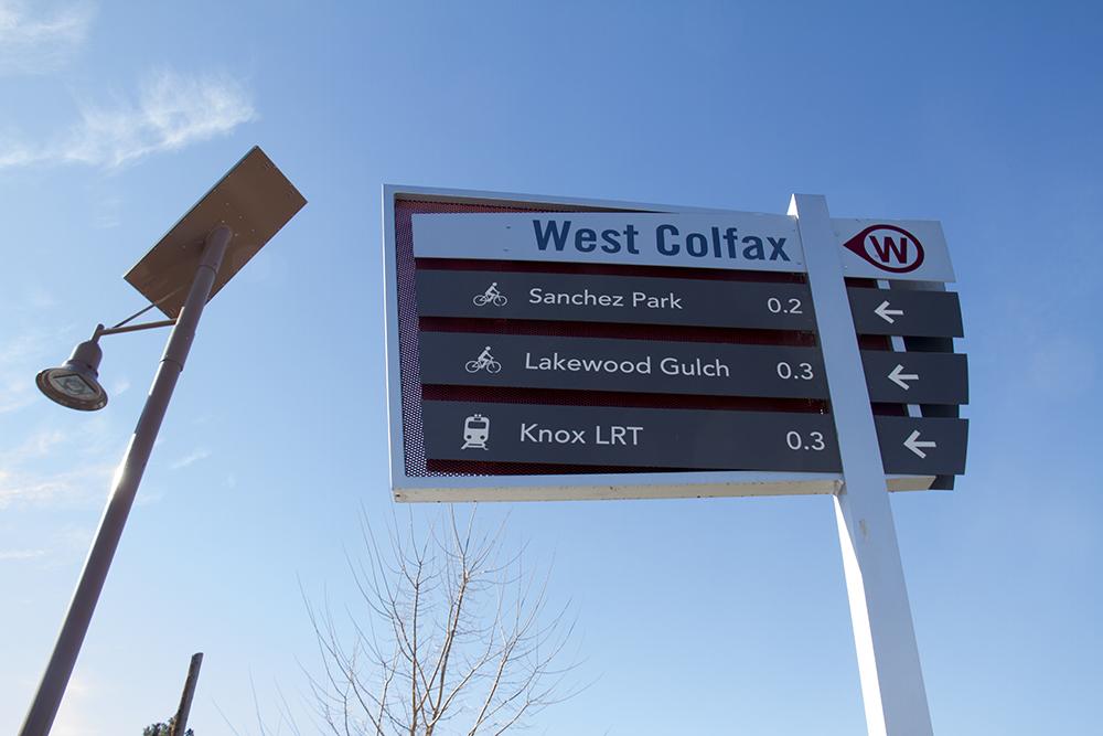A waypoint sign on Colfax by the Corky Gonzales Library. (Kevin J. Beaty/Denverite)  denver; colorado; denverite; kevinjbeaty; mile high stadium; walk denver; pedestrian;