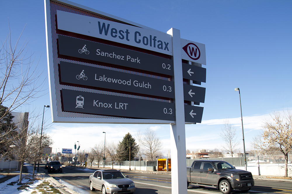 A waypoint sign on Colfax by the Corky Gonzales Library. (Kevin J. Beaty/Denverite)  denver; colorado; denverite; kevinjbeaty; mile high stadium; walk denver; pedestrian;