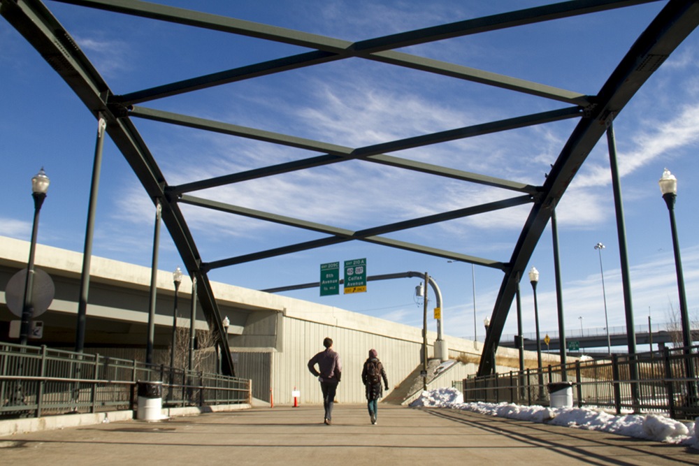 Gosia Kung of Walk Denver and Andy Kenney walk Denver. (Kevin J. Beaty/Denverite)  denver; colorado; denverite; kevinjbeaty; mile high stadium; walk denver; pedestrian;