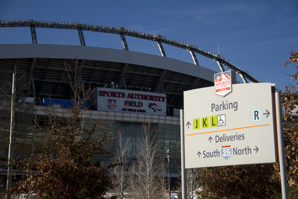 A waypoint sign near Mile High Stadium. (Kevin J. Beaty/Denverite)  denver; colorado; denverite; kevinjbeaty; mile high stadium; walk denver; pedestrian;