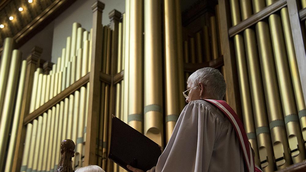 The 7 P.M. service. Christmas Eve at Trinity United Methodist Church, 2016. (Kevin J.Beaty/Denverite)  christmas eve; holidays; downtown; kevinjbeaty; denver; denverite; colorado;