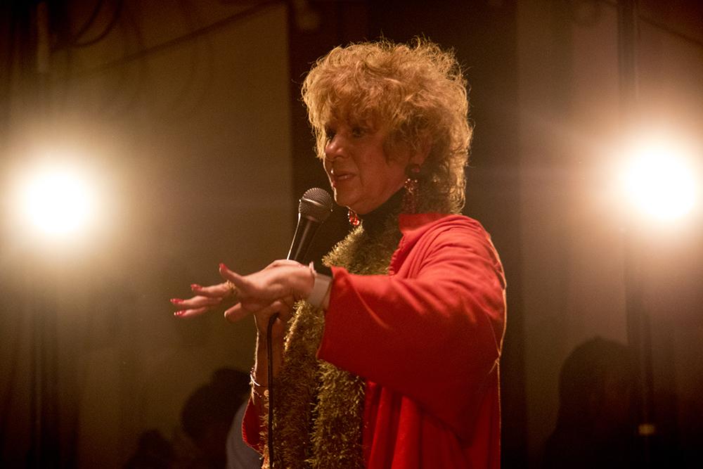 Cleo Parker Robinson addresses a crowd on the first night of Kwanzaa at the Cleo Parker Robinson Dance Theatre, Dec. 26, 2016. (Kevin J. Beaty/Denverite)